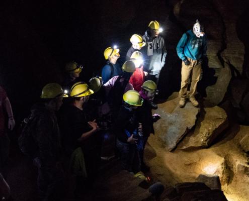 Guests Caving in the Dark at Laurel Caverns